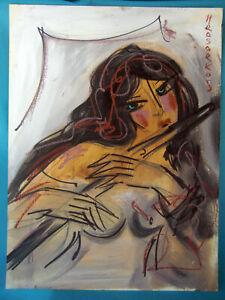 HRASARKOS Tableau Peinture Mixte sur panneau 60 cm x 80 cm Ref 302761642410