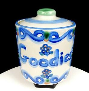 """MARY A HADLEY SIGNED ART POTTERY FLOWER & GOODIES 6 3/4"""" LIDDED COOKIE JAR 1939-"""