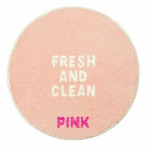 VICTORIAS SECRET PINK BATH MAT FRESH & CLEAN GRAPHIC BATHMAT RUG ROUND New