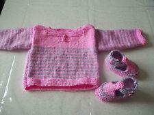 ensemble tricot fait main bébé 0/3 MOIS- PULL MARINIERE ET CHAUSSONS- 0/3 MOIS