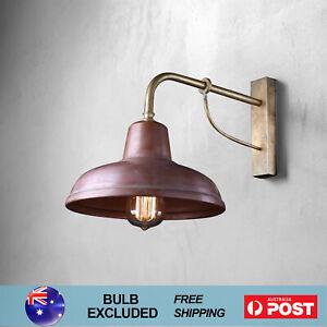 Vintage Industrial Wall Light Indoor Fixtures Barn Lamp w/ Bracket Solid Copper
