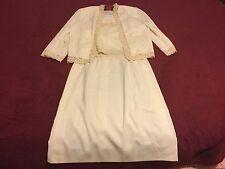 NOS 1970's  Vintage Nardis of Dallas Size 12 (?) 3 Piece Ecru Cream Wedding Suit