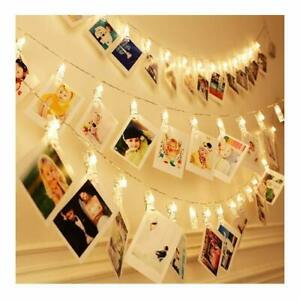 1.5m Warm White Fairy Lights With 10 Photo Clips Battery Powered String Lights