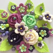 SWEET VIOLETS Edible Sugar Flowers Roses Cupcake Cake Decorations Ivory Purple