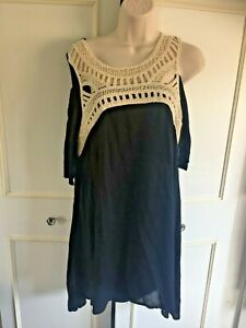 KLASS - black cheesecloth swing dress, cold shoulder crotched panel - Size 12