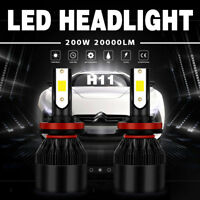 2X H11/H9/H8 200W 20000LM LED Headlight Conversion Kit Beam Bulb 6000K White LFP