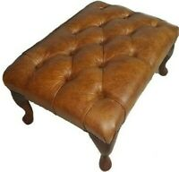 Chesterfield Deep Buttoned Queen Anne Footstool 100% Distressed Tan Leather