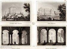Milano: 4 vedute.Villa Bonaparte.Palazzo Brera.Sant'Ambrogio. Acciaio.Audot.1840