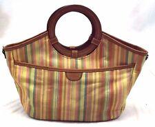 Fossil Handbag Satchel Bag Purse Brown Multicolor Striped Canvas Large Preowned