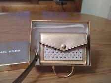 NWT Michael Kors HONEY Medium Card Holder Wristlet Small Wallet GOLD/VANILLA