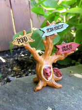 Miniature Dollhouse FAIRY GARDEN ~ Pixie ENCHANTED FOREST Squirrel Tree Sign