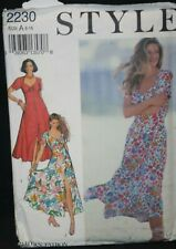 Vintage sewing pattern 90's summer dress sweetheart neck. Fit + flare  6-16