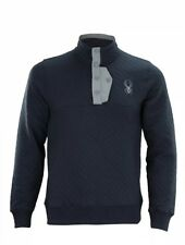 Men's Spyder Quilted Button Pullover Sweater Ski Frontier Blue Size M $149