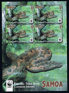 2015 Samoa WWF Pacific Tree Boa Snake Miniature Sheets Set