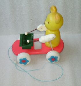 RARE VINTAGE NICE PULL PLASTIC TOY - BEAR ON WHEELS, PROBABLY USSR/RUSSIA, 1970s