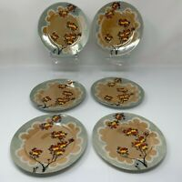 Floral Lustre Plates Set of Six Vintage Japan Dessert Bread Plates Hand Painted