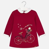 Mayoral Girls Fleece Dress with Embroidered details in Red (04941) aged 4-9