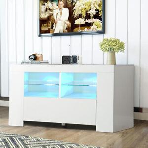 Modern TV Unit 100cm TV Stand Cabinet High Gloss Front & Matt Body RGB LED Light