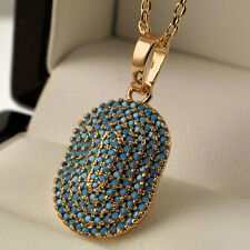 18ct Gold Filled Turquoise Oval Square Rectangular Pendant Necklace Chain UK N24