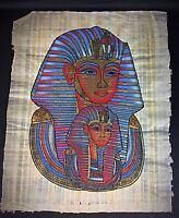 Grand 42x33 cm original papyrus Egypte Toutankhamon Peinture et dorure