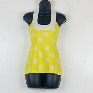 Lululemon Women's Scoop Neck Tank Built In Bra Top White Yellow Polka Dot sz 4