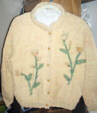 Sandra J. Dye ~ Hand Spun Original Floral Knit Sweater ~ Women's Large***