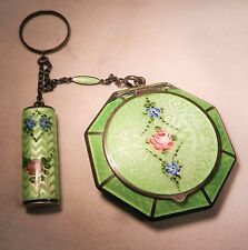 1920s GREEN FLORAL GUILLOCHE ENAMELED TANGO COMPACT w/LIPSTICK,R&G Co,EX COND