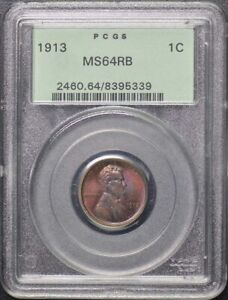 1913 1C Lincoln Cent Wheat Reverse PCGS MS64RB OGH Great Color
