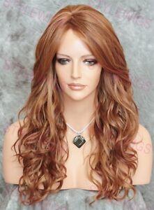 Auburn/Blonde Long Loose Wavy Curls Heat OK Human Hair Blend Wig EVAM 30/27