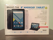 "BRIGHT-TAB 9"" ANDROID TABLET NEW IN BOX  2 CAMERA'S  LEATHER CASE BLUETOOTH"