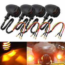 4x Retro Motorcycle Bulbs Turn Signal Blinker Lights Indicators Amber Harley