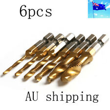AU 6pcs Metric Hex HSS Titanium Screw Thread Tap Drill Bits Set  titanizing