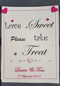 A4 Personalised Sweet Table / Candy Cart Sign Love Is Sweet Take A Treat