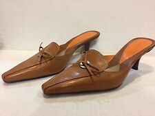 Cole Haan Tan Pointy Toe Mules /Slides With Kitten Heels/ Bow . 6B Sexy / Per
