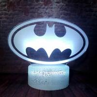 Creative Figuras Batman Logo Model 3D Illusion LED Nightlight Colorful Changing