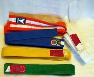 5 MARIAL ARTS BELTS: White #5, Yellow #4, Orange #4, Green #4 & Blue #3