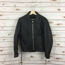 Women's 100% Leather Motorcycle Jacket Size Small Black Braided Detail Lace Up