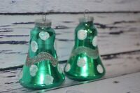 Vintage Set 2 Glass Christmas Ornaments Green Polka Dot Glitter Bells W. Germany
