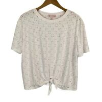 Nanette Lepore Womens Short Sleeve Eyelet Tie Front Knit Top White Size Small