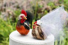 Barnyard Chicken Wedding Cake Topper: Farm Bride & Groom Love Bird Cake Topper