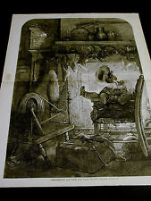 Thomas Nast Christmas Eve 1878 SANTA at FIRE-PLACE SMOKING PIPE Large Print