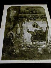 Thomas Nast Christmas Eve 1878 SANTA at FIRE-PLACE SMOKING PIPE Large Print