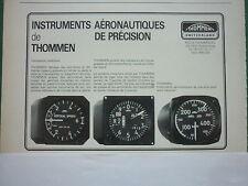 1982-86 PUB THOMMEN WALDENBURG SUISSE INSTRUMENT AVIATION ALTIMETRE FRENCH AD
