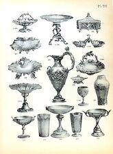 Stampa antica argenteria COPPE CALICI Boulenger 1890 Old print silverware
