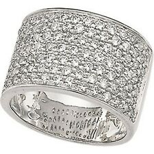 Sterling Silver Micro Pave CZ Cigar Band Wide Ring 2 CT Size 8 NEW FITS TIGHT