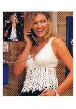 "Crochet Pattern Ladies V neck Sun Top PATTERN ONLY 32-38"" Acrylic DK #el23"