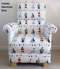 Fryetts Maritime Blue Fabric Chair Ships Boats Nursery Armchair Nautical Red