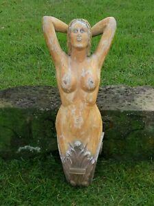"Vtg Folk Art Nautical 36"" Carved Wood Britannia Nude Ships Figurehead Maritime"