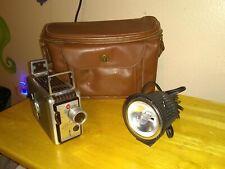 Vintage Kodak Brownie f1.9 8mm Movie Camera With Bag &  Fireball Movie Light