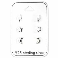 Sterling Silver Lightning Star and Moon Earring Set